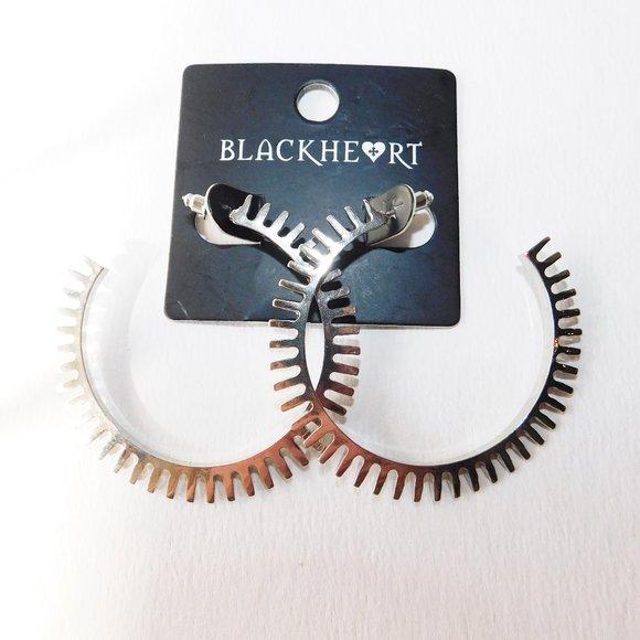Blackheart Gear Cog Wheel Silver Hoop Earrings new